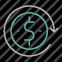 arrow, dollar, money, reload
