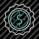 badge, dollar, shopping, sold icon