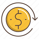 business, dollar, money, reload, shopping icon