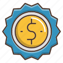 badge, business, price, shopping, sold icon