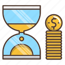 business, dollar, money, sandhour, shopping, time is money icon