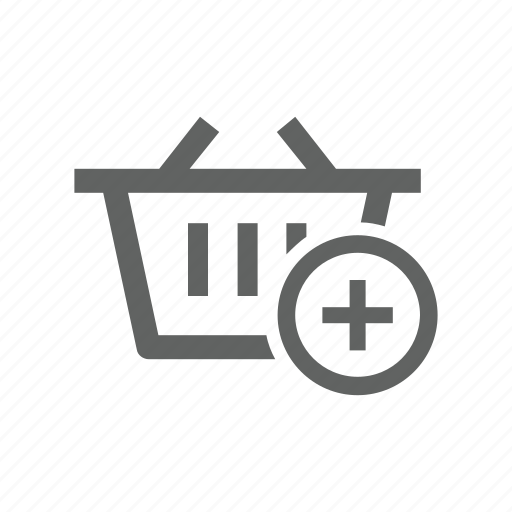 add, basket, new, plus, shopping, shopping basket icon