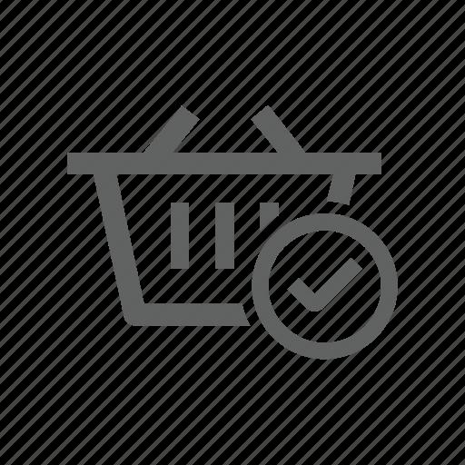 basket, check, check mark, correct, shopping, shopping basket icon