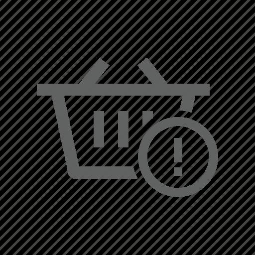 attention, basket, error, exclamation, shopping, shopping basket, warning icon