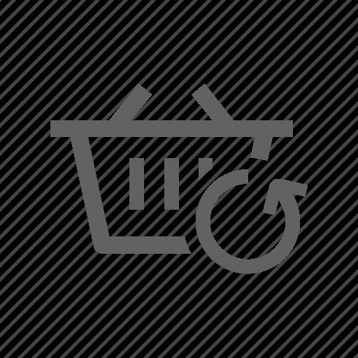 arrow, basket, shopping, shopping basket, sync, synchronize, update icon
