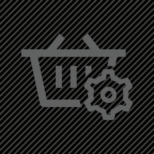 basket, gear, options, setting, shopping, shopping basket icon