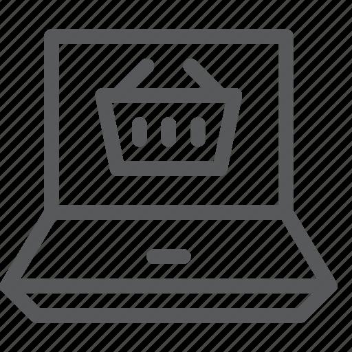 app, basket, laptop, online, shopping, store icon