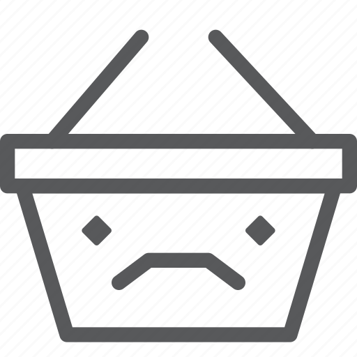 app, basket, frown, online, sad, shopping, store icon