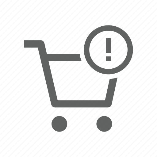 attention, cart, error, exclamation, shopping, shopping cart, warning icon