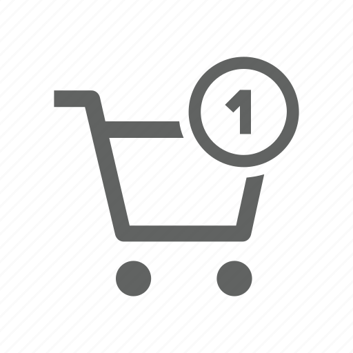 cart, number, one, shopping, shopping cart icon