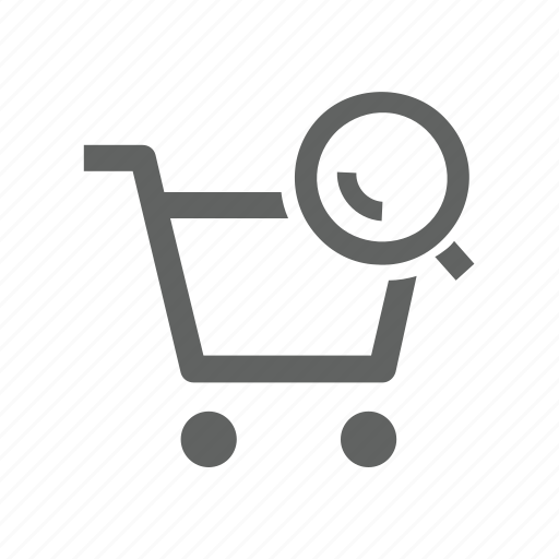 cart, magnify, magnify glass, search, shopping, shopping cart icon