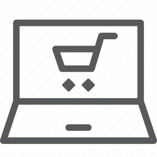 application, buy, cart, laptop, purchase, retail, shopping, trolley icon