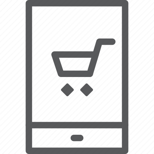 application, buy, cart, item, mobile, purchase, retail, trolley icon
