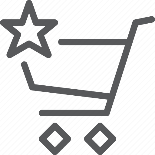 buy, cart, item, purchase, retail, shopping, star, trolley icon