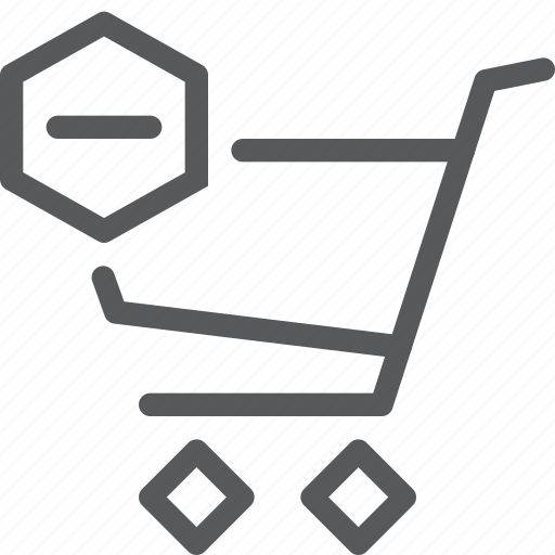 buy, cart, item, purchase, retail, shopping, subtract, trolley icon