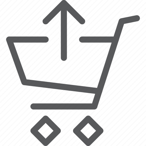 buy, cart, item, purchase, retail, shopping, trolley, upload icon