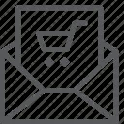 buy, cart, envelope, item, purchase, retail, shopping, trolley icon
