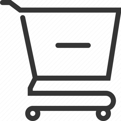 bag, delete, empty, hand, minus, shopping, shopping cart icon