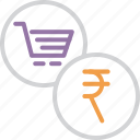 cart, currency, finance, indian, online, rupee, shopping icon