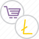 cart, currency, electronic, finance, litecoin, online, shopping icon