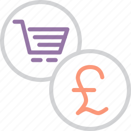 british, cart, commerce, finance, online, pound, shopping icon