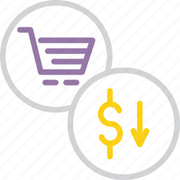cart, commerce, decline, fall, finance, price, shopping icon