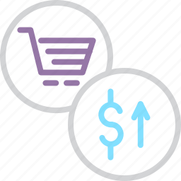 cart, commerce, finance, high, price, rise, shopping icon