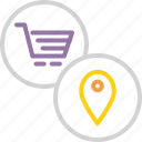 cart, location, mall, pin, region, shopping, spot icon