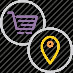 cart, location, mall, pin, region, shopping, spot icon
