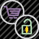 basket, cart, checkout, commerce, enable, shopping, unlock icon