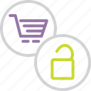 basket, cart, checkout, commerce, enable, shopping, unlock icon