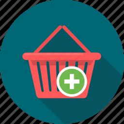 add, basket, buy, cart, ecommerce, plus, shop icon