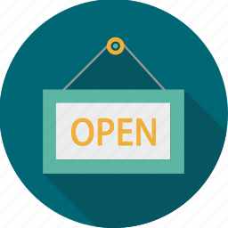 open, open board, open sign, shopping, store, tag icon