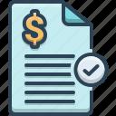 bills, invoice, paid, stamp icon