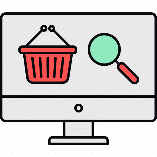 cart, items, online, search, shopping icon