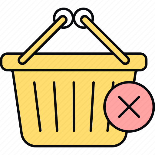 basket, cart, remove from, shopping icon