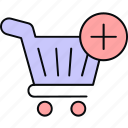 add to, cart, shopping, trolley icon