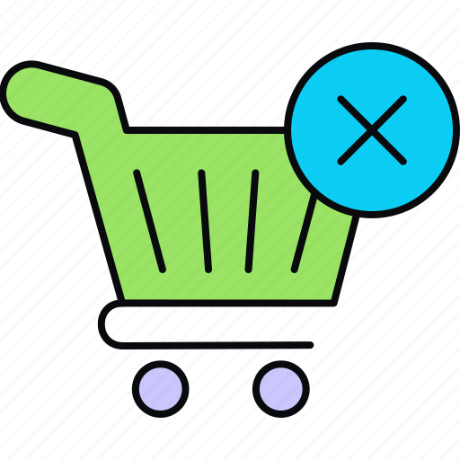 cancelled, cart, order, purchase, remove from cart, shopping icon