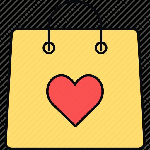 bag, gift, shopping, valentine icon