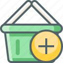 add, basket, cart, ecommerce, new, plus, shopping icon