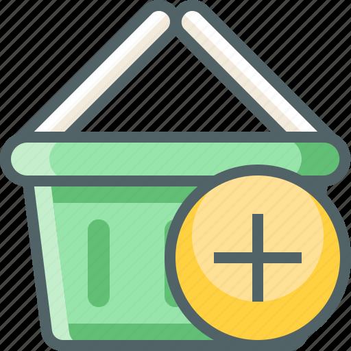 add, basket, cart, ecommerce, new, plus, shopping icon