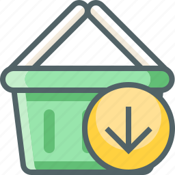 arrow, basket, cart, down, download, receive, shopping icon