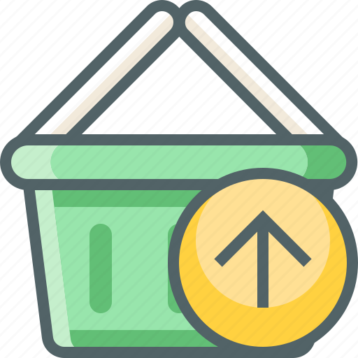 arrow, basket, cart, send, shopping, up, upload icon