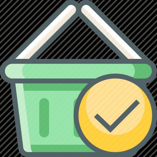 accept, basket, cart, check, done, oke, shopping icon