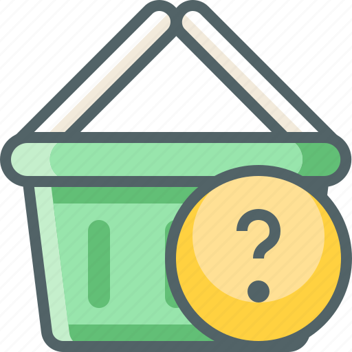 basket, cart, help, question, service, shopping, support icon