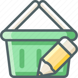 basket, cart, design, edit, pencil, shopping, write icon