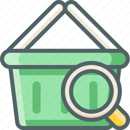 basket, cart, fine, glass, magnifier, search, shopping icon