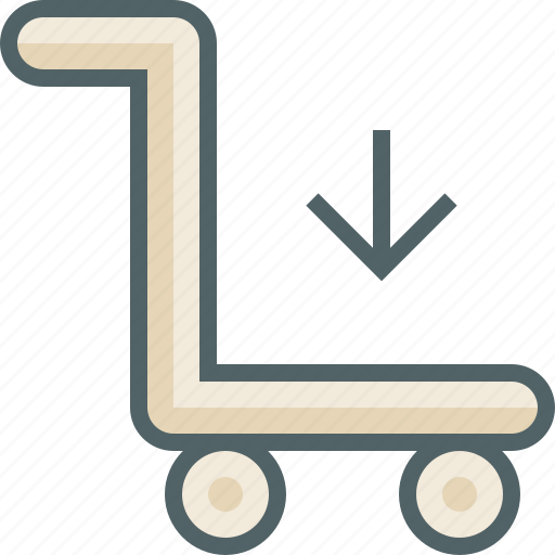 arrow, cart, down, download, luggage, receive, trolley icon