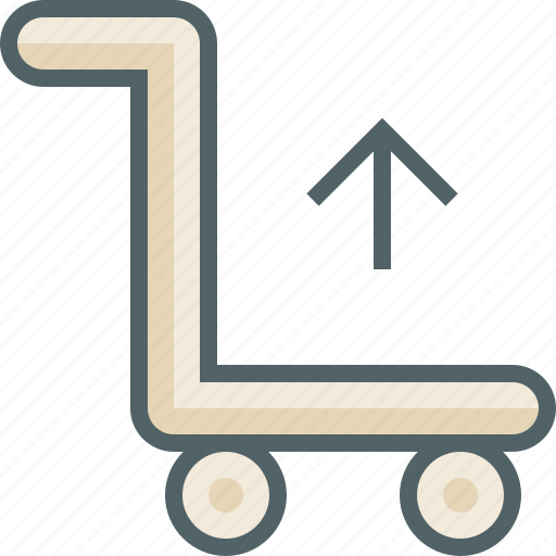arrow, cart, luggage, send, trolley, up, upload icon