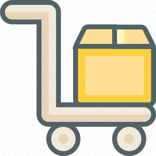 box, cart, delivery, luggage, package, shipping, trolley icon